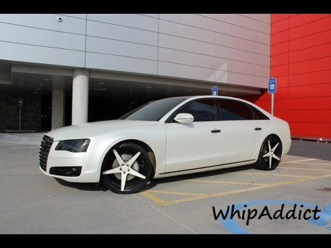 Whipaddict 2013 Audi A8l On 22s Satin White Wrapped Youtube