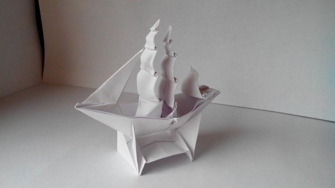 Как сделать бумажный кораблик видео фото 943