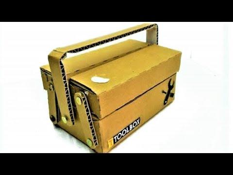 Make A Cardboard Tool Box Youtube