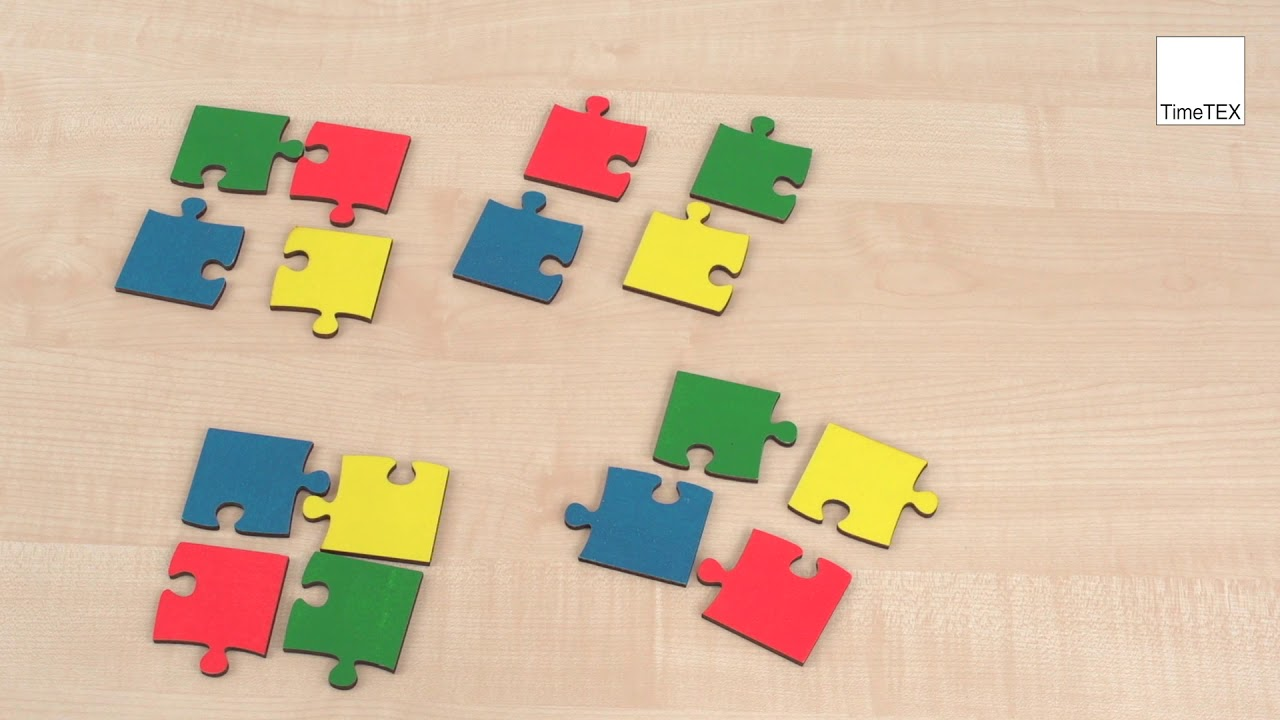 TimeTEX Gruppen Puzzle aus Holz, 8 tlg., 8 farbig   TimeTEX