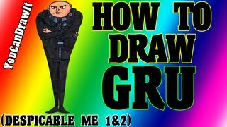 How To Draw Gru from Despicable Me 1&2 ✎ YouCanDrawIt ツ 1080p HD