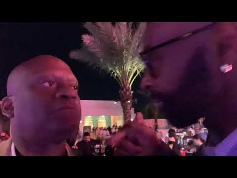 Jerry Rice And Zennie Abraham Promote GOAT Fuel Energy Drink At Super Bowl LIV Party