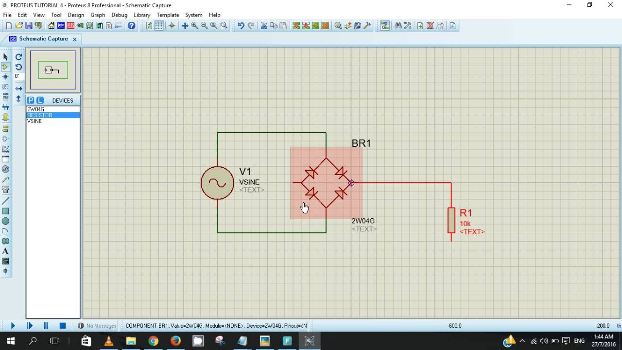Proteus Tutorial 4 Full Wave Rectifier Youtube Bridge Circuit Diagram
