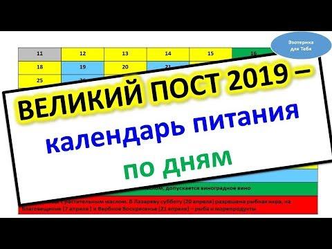 🅾️ Календарь питания в Великий пост - 2019 по дням 🅾️