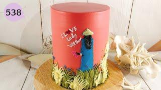 decorate cake lady picture at home beautiful - bánh sinh nhật hình cô gái áo dài đẹp (538)