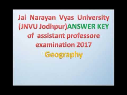 JNVU, JODHPUR ANSWER KEY OF ASST  PROFESSOR  GEOGRAPHY