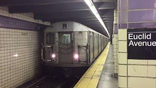 NYC Subway HD 60fps: Budd R32 C Train Departs Euclid Avenue (6/27/15)