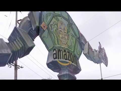 Protesters Outside of Amazon Shareholders Meeting
