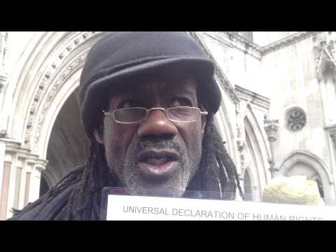 African Professor - Demonstration at the Royal Court of Injustice Strand in London