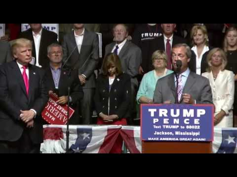 Nigel Farage With Donald Trump In Jackson Mississippi FULL Speech 8/24/16
