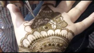 Mehendi Design For Indian Bride-How To Draw Floral Mehndi Tattoo On Palm