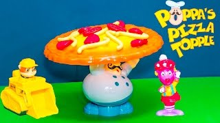POPPA PIZZA TOPPLE Game Paw Patrol Plays Backyardigans in Poppa Pizza Topple Video Toys Unboxing