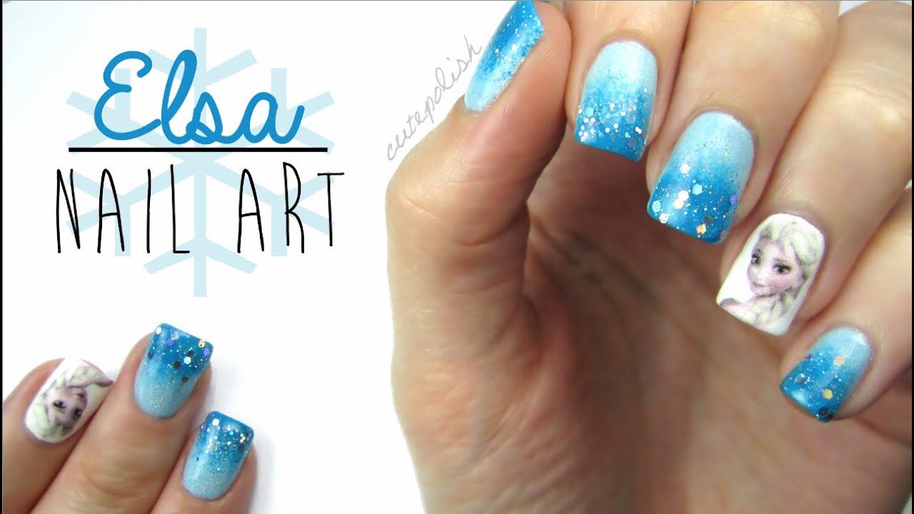 Elsa frozen nail art youtube prinsesfo Images