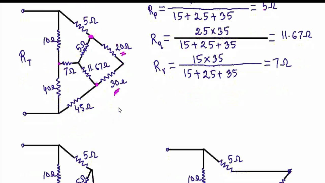 Delta - Wye(∇-Y) & Wye - Delta ( Y-∇ )Transformation: Example 3 ...