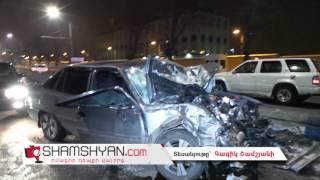 Խոշոր ավտովթար Երևանում  ԱՄՆ դեսպանատան դիմաց Daewoo ի վարորդը բախվել է մայթեզրին կայանած Jeep ին