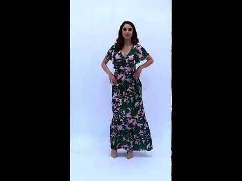 Video: Długa sukienka w kwiaty z wiskozy