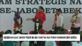 Heboh Ibu Enggan Turun Panggung Sebelum Terima Sepeda dari Presiden Jokowi