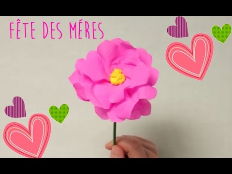 comment faire une fleur en papier cr pon diy cadeau f te des m res youtube. Black Bedroom Furniture Sets. Home Design Ideas