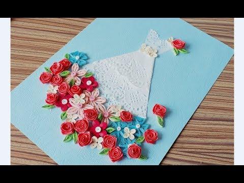 DIY Paper quilling Flower Card Design 40 // Quilling Flower Wedding Card