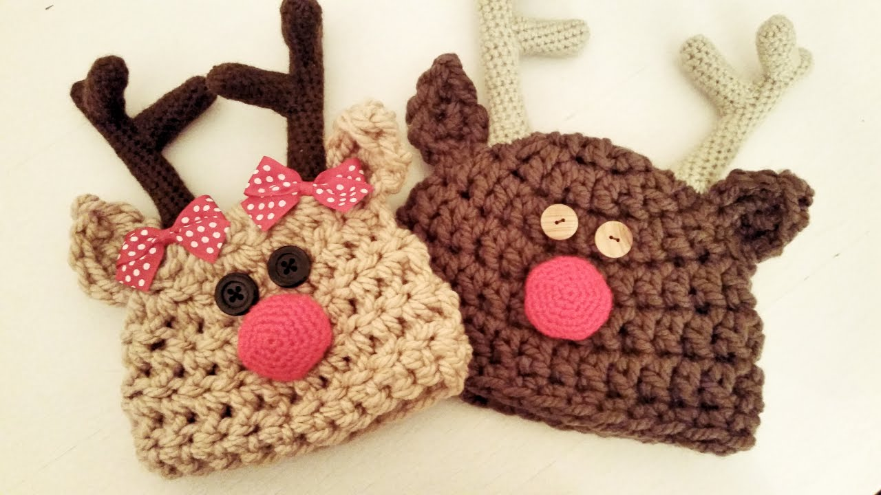 Gorro de Rudolf el Reno a Crochet ··· How to crochet a Rudolf the reindeer hat , YouTube