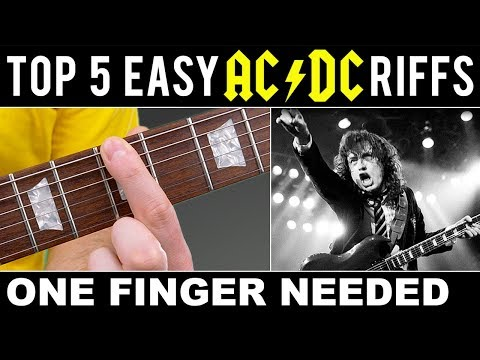 TOP 5 | EASY | AC/DC | RIFFS | ONE FINGER NEEDED!