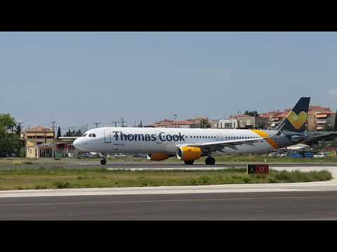 Thomas cook Airbus 321 Takes off from CORFU ISLAND GREECE