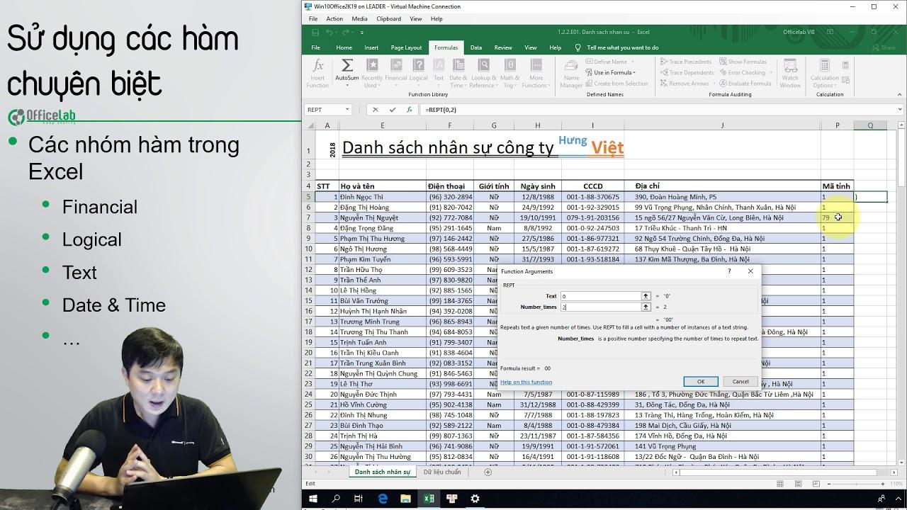 Học Excel 2: 1.2.2.E01. Kết hợp hàm REPT LEFT LEN trong nhóm hàm Text