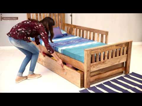 Single Bed- Shop Mahjong Single Bed with Storage online in Natural Finish from Wooden Street