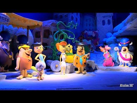 [4K] The Flintstones Ride - Log Ride at Warner Bros Theme Park - GoPro 7  