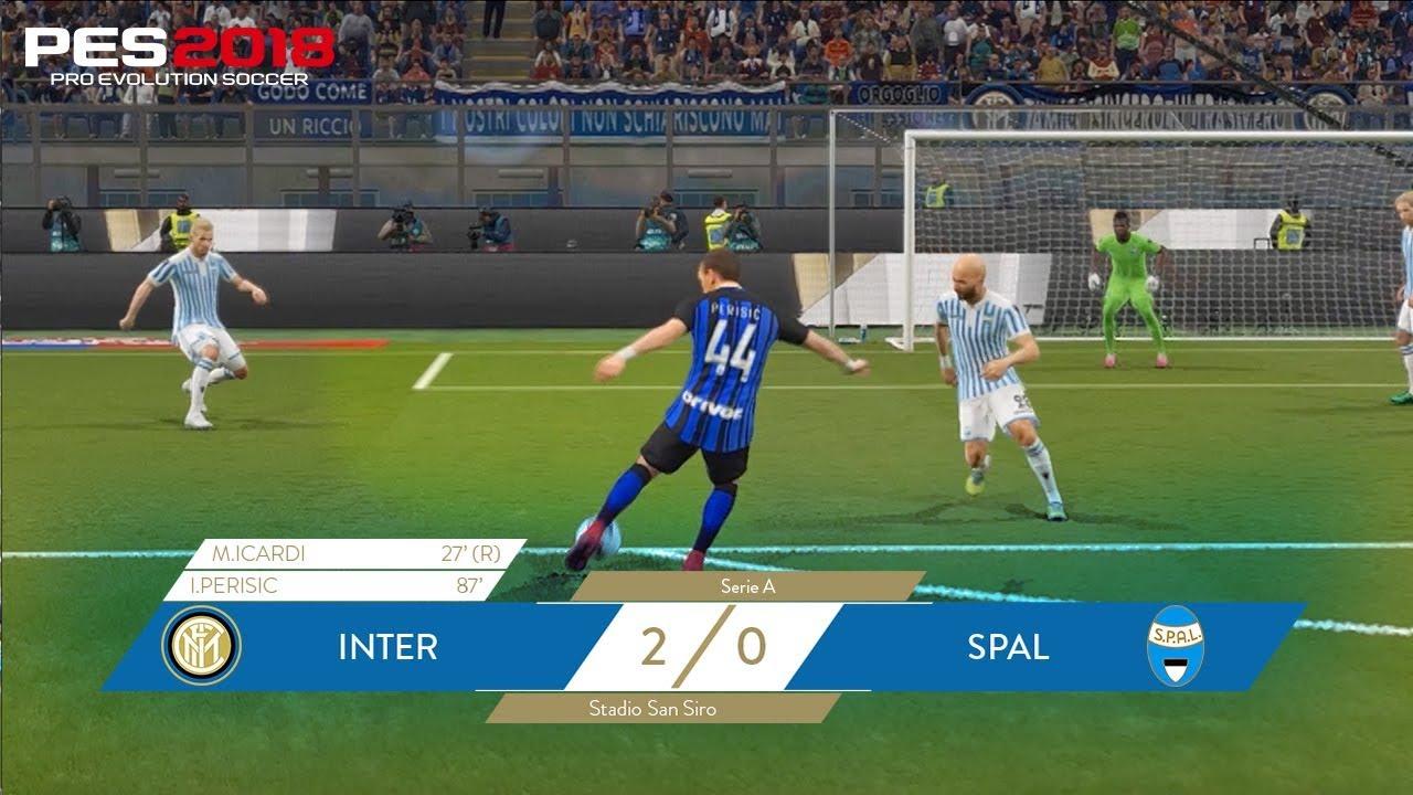 Inter Spal 2 0 Mauro Icardi And Ivan Perisic Pes 2018