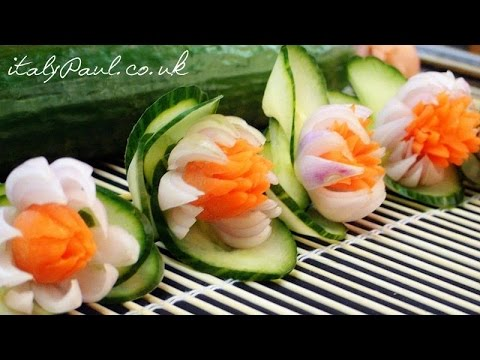 How to Make Carrot Onion Cucumber Flowers Vegetable