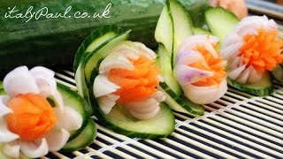 How to Make Carrot Onion Cucumber Flowers - Vegetable Carving Garnish - Food Decoration