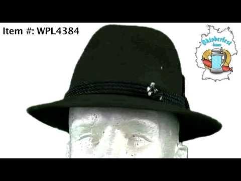 Traditional Bavarian Wool Alpine Hat W/ Feather - Hunter Green