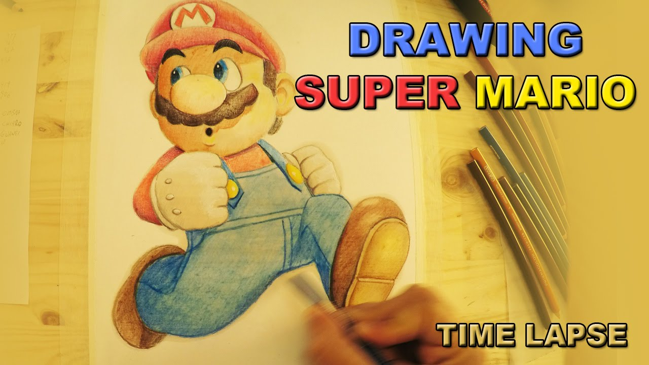 Drawing Super Mario Pencils On Paper Time Lapse