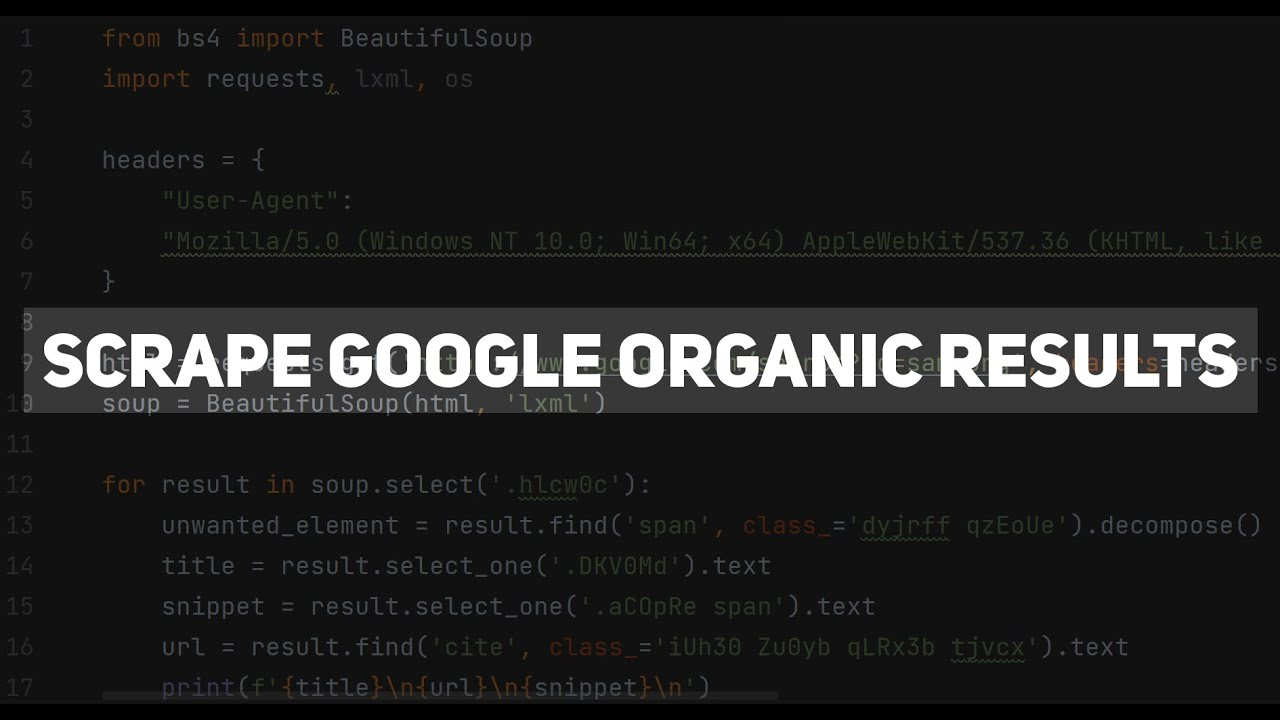 Download Scrape Organic Results from Google Search using Python