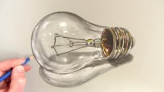 How to Draw a Realistic Lightbulb: Time Lapse