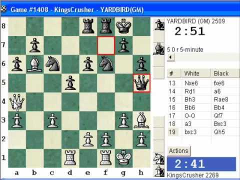 English: Bremen system, Keres variation (A23) : Blitz #344 vs. GM YARDBIRD (2509) (Eric Lobron)