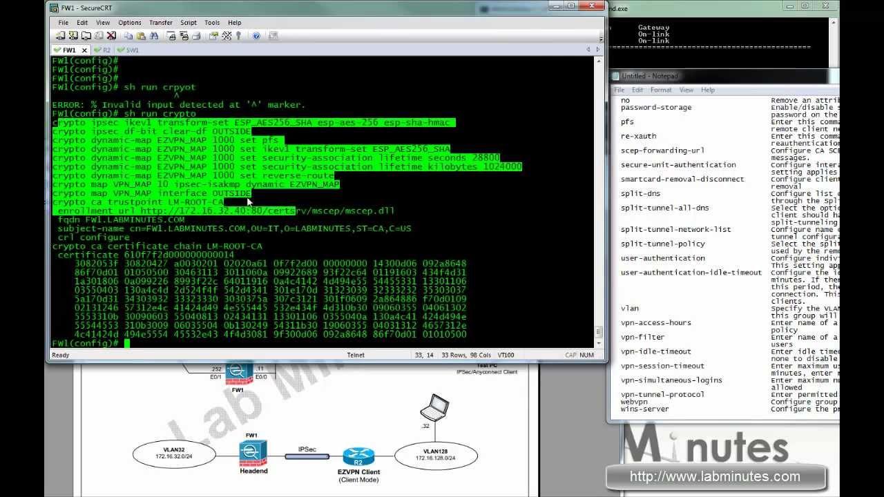 LabMinutes#SEC0017 - Cisco ASA Easy VPN (EZVPN) with Pre-Shared Key &  Certificate Hardware client