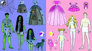 Paper Dolls Dress Up - Sadako and Ghost Zombie Good & Bad House Family - Barbie Story & Crafts