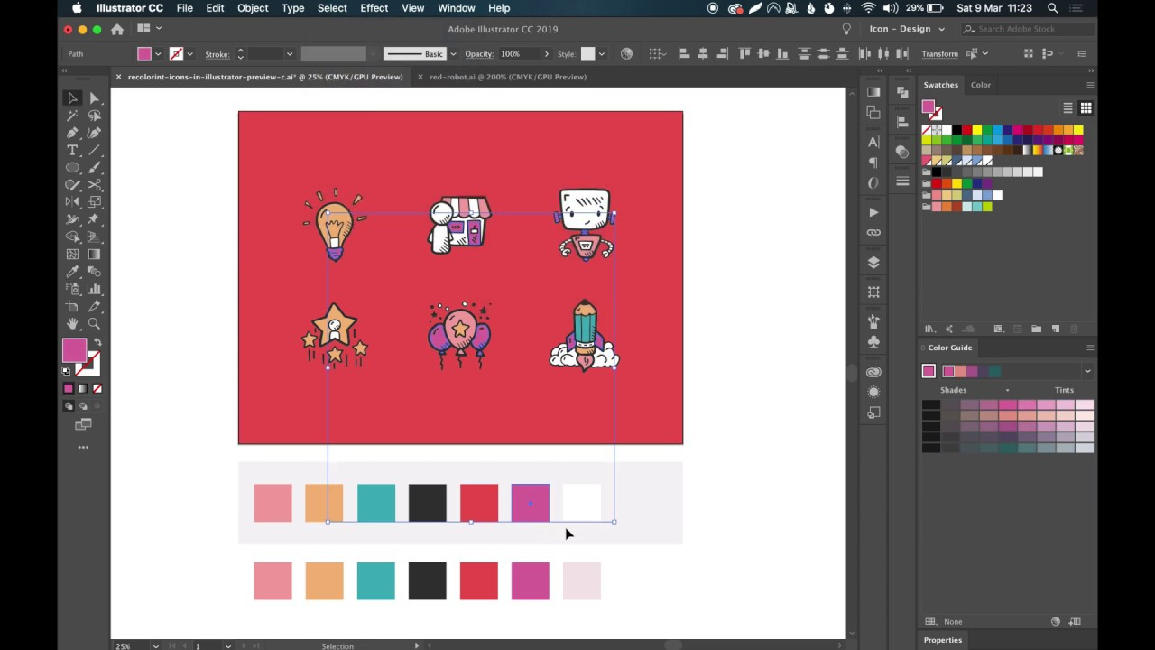 3 Time Saving Methods to Recolor Entire Icon Set in Adobe