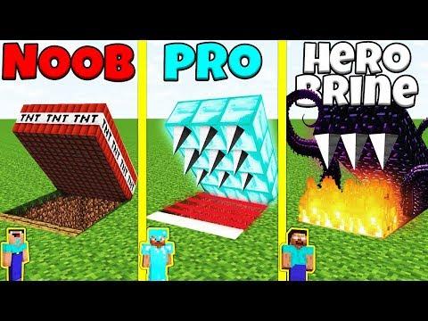 Minecraft Battle: NOOB Vs PRO Vs HEROBRINE: HIDDEN TRAP CHALLENGE / Animation
