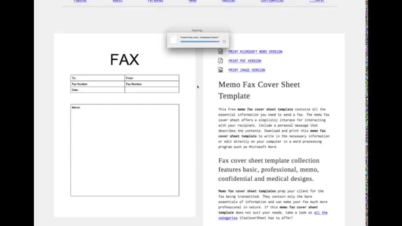Customize Fax Cover Sheet Template Tutorial   YouTube  Fax Cover Sheet To Print
