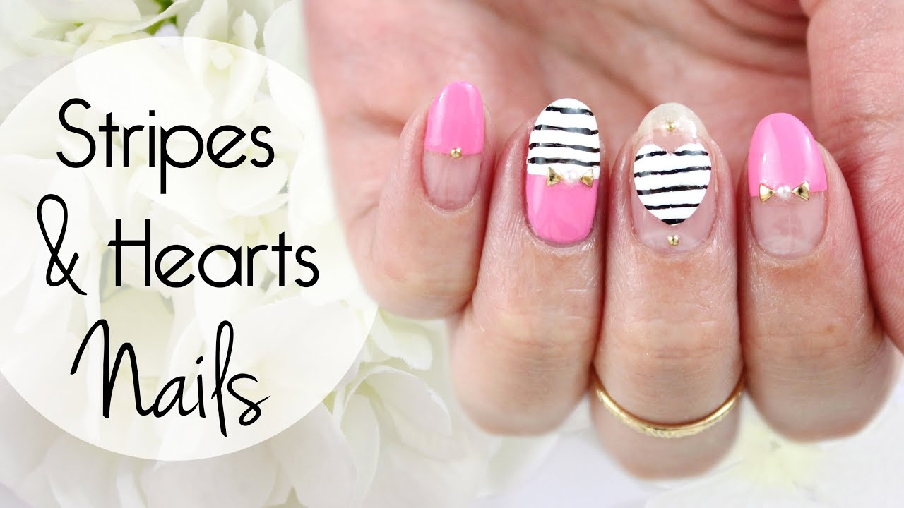 Stripes And Hearts Nails How To Fix Smudged Nail Art
