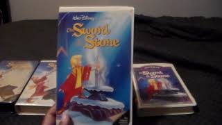Four Different Versions Of Walt Disney's The Sword In The Stone VHS