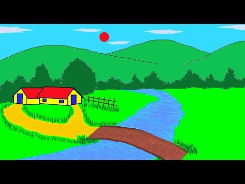 How to draw a Scenery in MS Paint l Learn MS Pain Easy |MS Paint Tutorial | Art for Kids | ComeTube