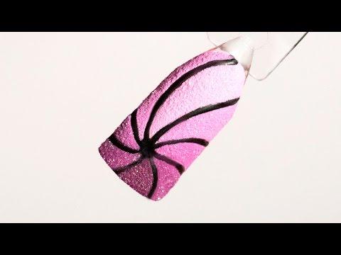 Дизайн ногтей гель-лаком с бархатным песком. Градиент в узоре, градиентная геометрия маникюр