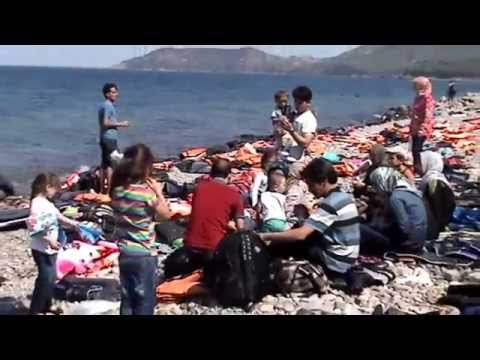 REFUGEES FROM SYRIA TO ISLAND OF LESVOS GREECE part2