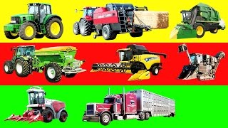 Learning Farm Vehicles and Equipment Names and Sounds for kids Tractors for Kids Trucks for Children
