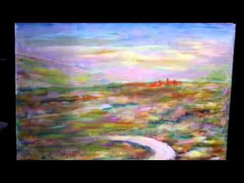 Peinture paysage abstrait acrylique youtube for Peinture acrylique