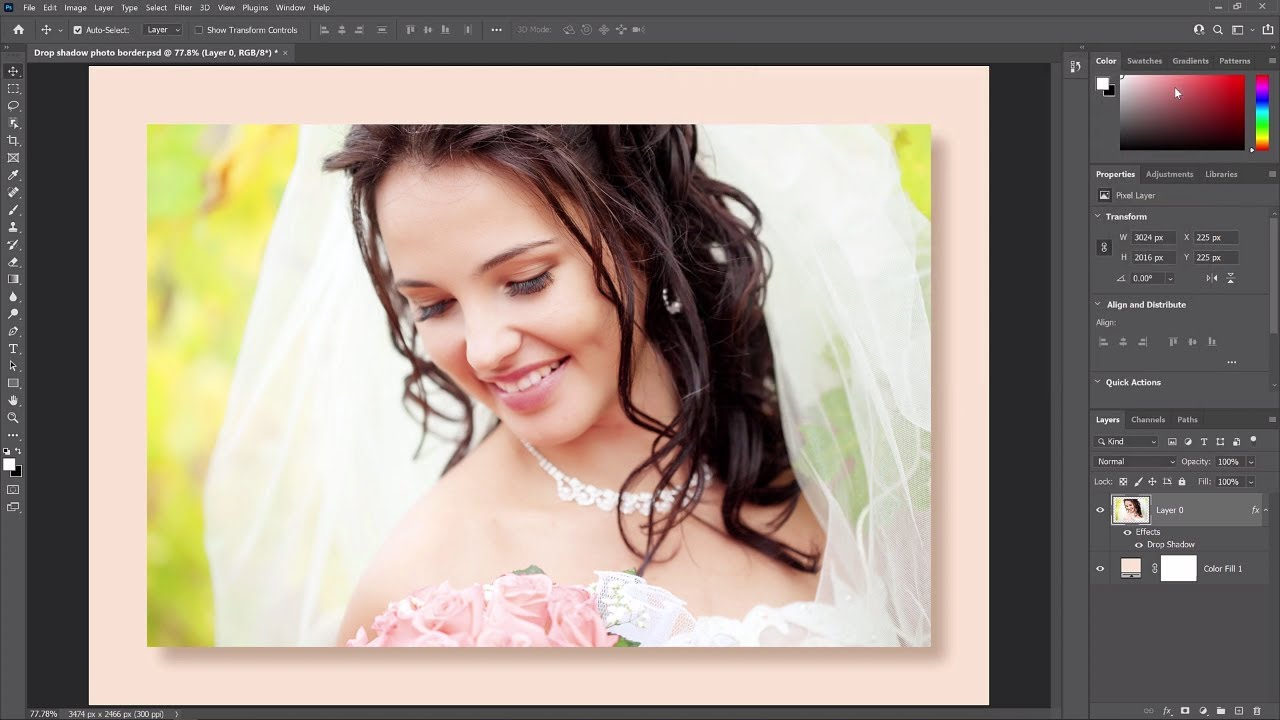 Add a Border and Drop Shadow to an Image with Photoshop